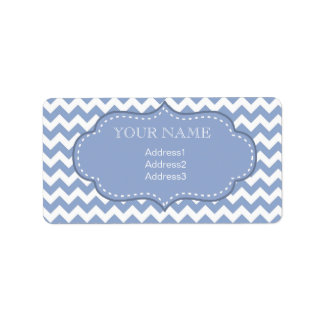 Chevrons and Stitched Label Blue Address Label