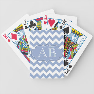 Chevrons and Stitched Label Blue Bicycle Playing Cards