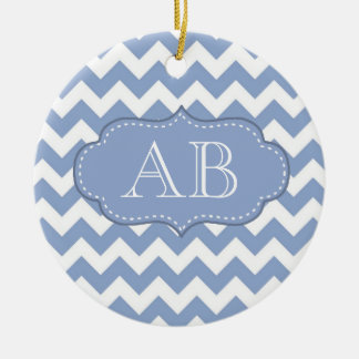 Chevrons and Stitched Label Blue Ceramic Ornament