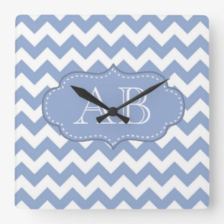 Chevrons and Stitched Label Blue Square Wallclocks