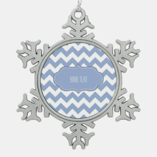Chevrons and Stitched Label Blue Snowflake Pewter Christmas Ornament
