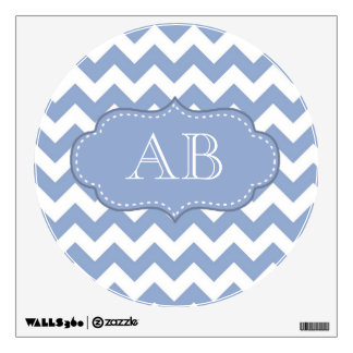 Chevrons and Stitched Label Blue Wall Decal