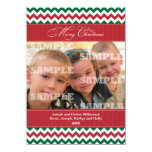 Chevrons and Stripes Christmas Greeting Personalized Invitation