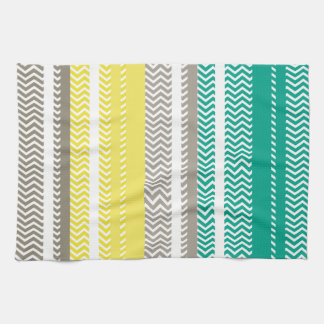 Chevrons And Stripes Gray Lemon And Turquoise Kitchen Towel