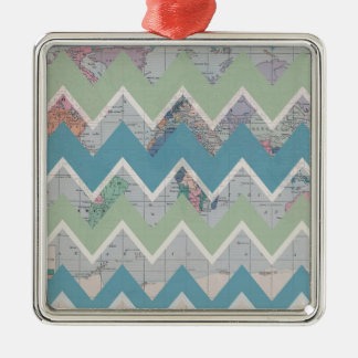 Chevrons Call and the World Answers Square Metal Christmas Ornament