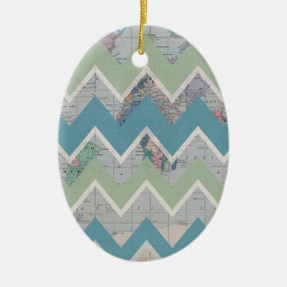 Chevrons Call and the World Answers Double-Sided Oval Ceramic Christmas Ornament