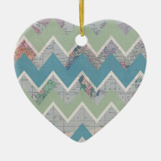 Chevrons Call and the World Answers Double-Sided Heart Ceramic Christmas Ornament