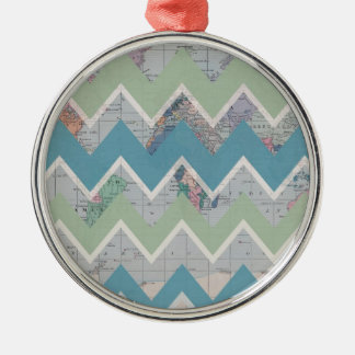 Chevrons Call and the World Answers Round Metal Christmas Ornament