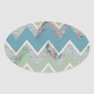 Chevrons Call and the World Answers Oval Stickers
