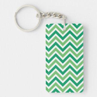 Chevrons green zigzag retro pattern background keychain