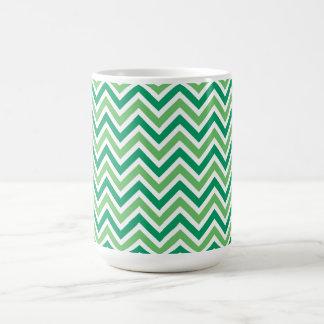 Chevrons green zigzag retro pattern, gift coffee mug