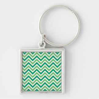 Chevrons green zigzag retro pattern, gift keychain