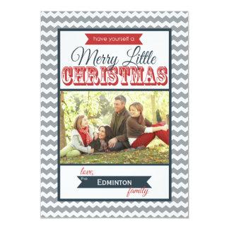 Chevrons Merry Little Christmas Flat Card