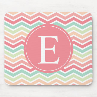 Chevrons Monogram Pastel Pink Green Mouse Pad