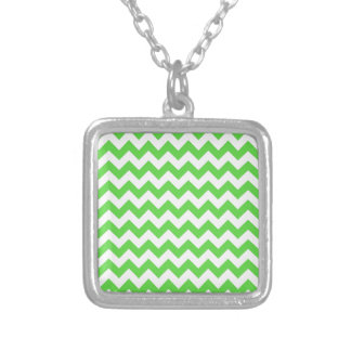 Chevrons of Bright Green and White Necklaces