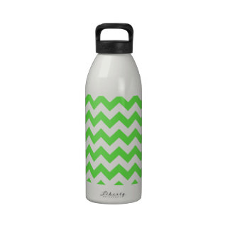 Chevrons of Bright Green and White Reusable Water Bottles