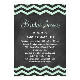 Chevrons on Chalkboard Bridal Shower Invite - mint
