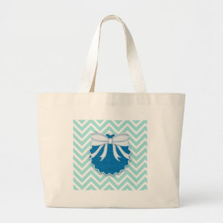 Chevrons Pattern Blue Bow Tie Office Party Destiny Large Tote Bag