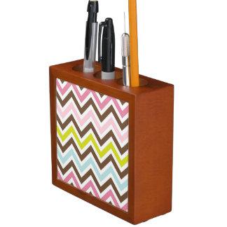 Chevrons Pattern Personalize Name Stripes Art Pencil Holder