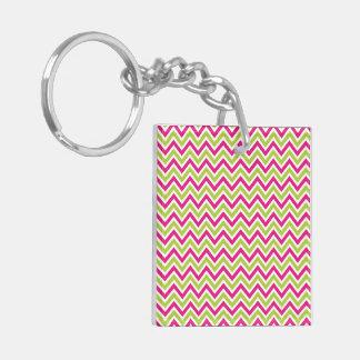 Chevrons pink & green zigzag pattern design keychain