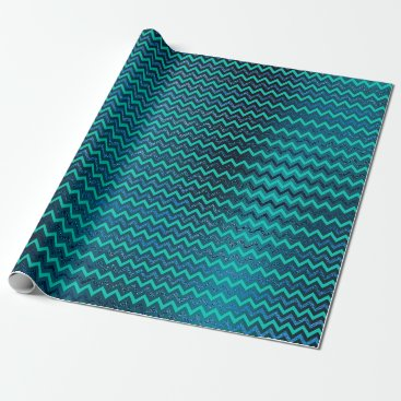 McTiffany Tiffany Aqua Chevrons Zig Zag Turquoise Blue Navy Metallic Mint Wrapping Paper
