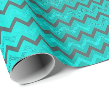 McTiffany Tiffany Aqua Chevrons Zig Zag Turquoise Blue Navy Metallic VIP Wrapping Paper