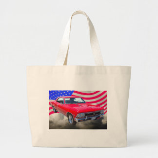 Chevy Chevelle SS 396 with American Flag Large Tote Bag