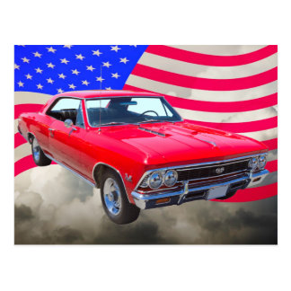 Chevy Chevelle SS 396 with American Flag Postcard