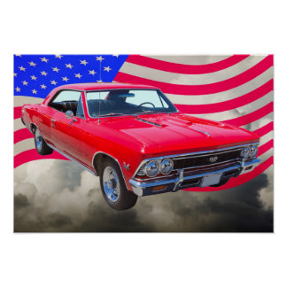 Chevy Chevelle SS 396 with American Flag Print