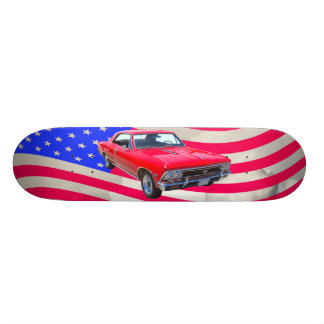 Chevy Chevelle SS 396 with American Flag Skateboard