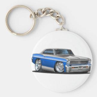 Chevy Nova Blue-Grey Car Keychain