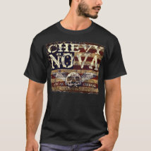 Chevy Nova Design Against Eroded Flag T-Shirt
