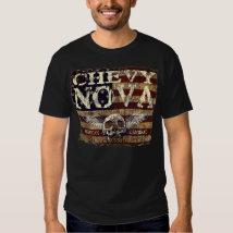 Chevy Nova Design Against Eroded Flag Tee Shirt