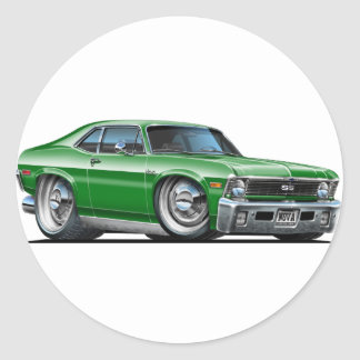 Chevy Nova Green Car Classic Round Sticker
