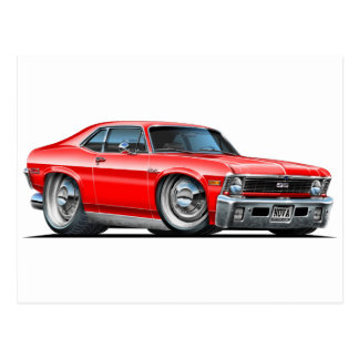 Chevy Nova Red Car Postcard