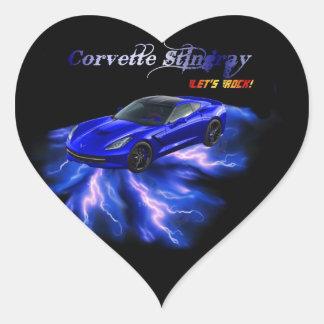 Chevy: Pastinaca 2013 del Corvette Pegatina En Forma De Corazón