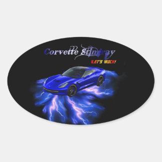 Chevy: Pastinaca 2013 del Corvette Pegatina Ovalada