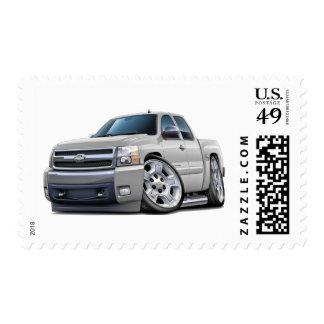 Chevy Silverado White Extended Cab Stamp