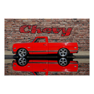 Chevy Truck with Reflection Poster