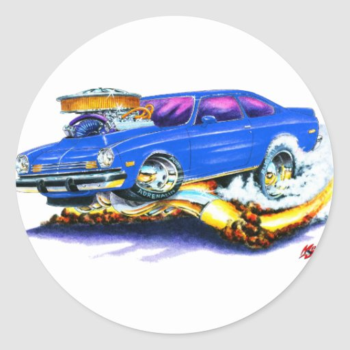 Chevy Vega Blue Car Round Sticker