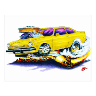 Chevy Vega Yellow Car Postcard