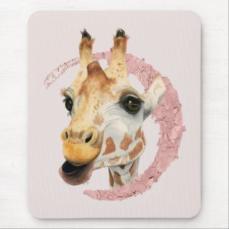 """Chew"" 3 Giraffe Watercolor Painting Mouse Pad"