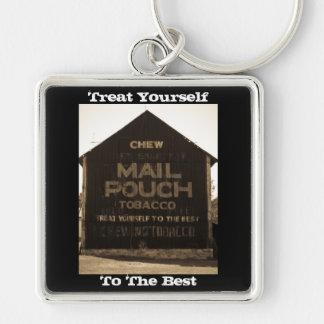 Chew Mail Pouch Tobacco Barn - Sepia Finish Silver-Colored Square Keychain