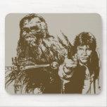 Chewie y silueta de Han Tapete De Ratón