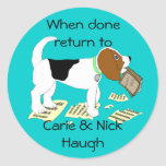 Chewing Beagle Bookplate Round Stickers