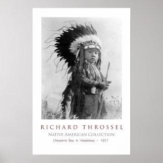 Cheyenne Boy in Headdress Poster