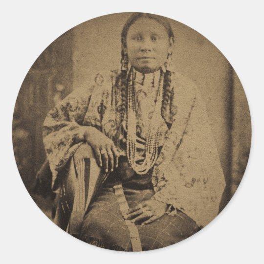 Cheyenne Indian Scout Nettie Bear Classic Round Sticker