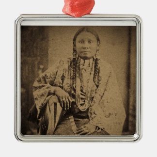 Cheyenne Indian Scout Nettie Bear Square Metal Christmas Ornament