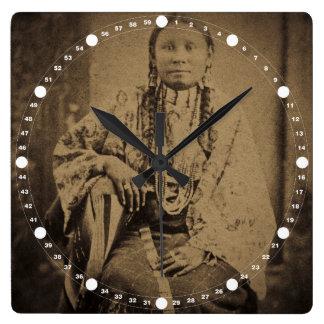 Cheyenne Indian Scout Nettie Bear Square Wall Clock