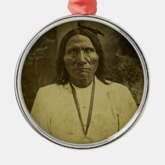 Cheyenne Indian Scout Vintage Stereoview Card Round Metal Christmas Ornament
